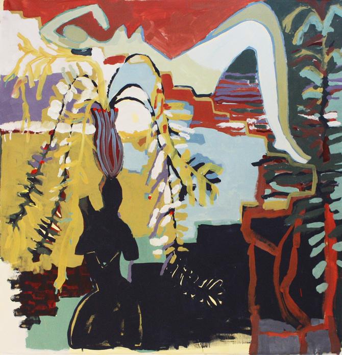'Allongé sur Escalier', acrylic on canvas
