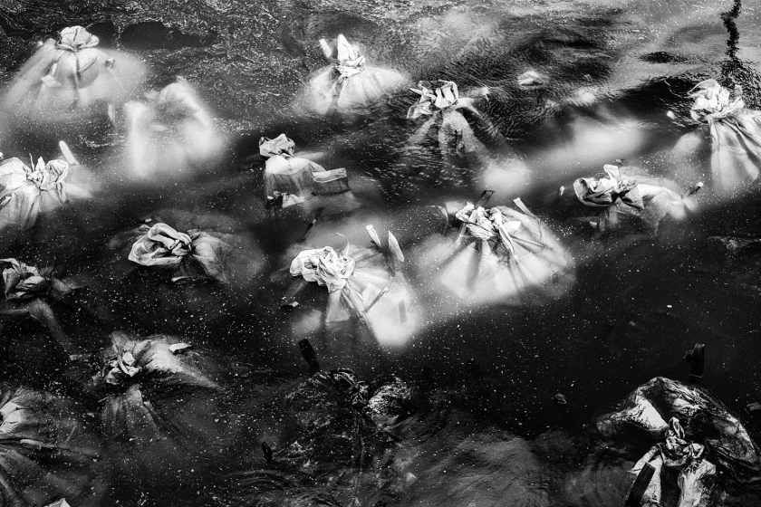 Sand bags underwater, Berlin, inspired by Sebastiao Salgado black and white treatment